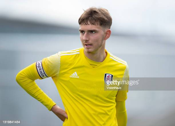 Adrion Pajaziti of Fulham during the U18 Premier League match between Manchester City and Fulham at The Academy Stadium on May 22, 2021 in...