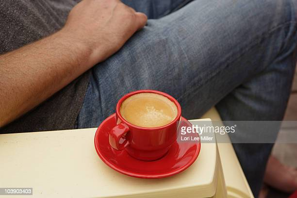 adriondack chair and espresso coffee - lori lee stock pictures, royalty-free photos & images