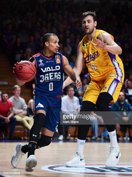Adris De Leon of the Adelaide 36ers competes with Andrew Bogut of the Kings during the round two NBL match between the Adelaide 36ers and the Sydney...