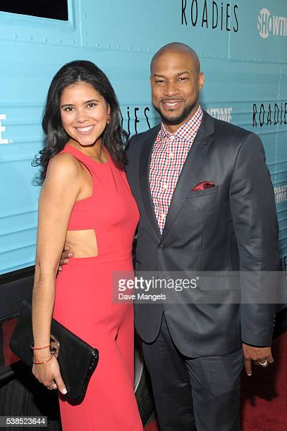Adris Debarge and actor Finesse Mitchell attend the premiere for Showtime's 'Roadies' at The Theatre at Ace Hotel on June 6 2016 in Los Angeles...