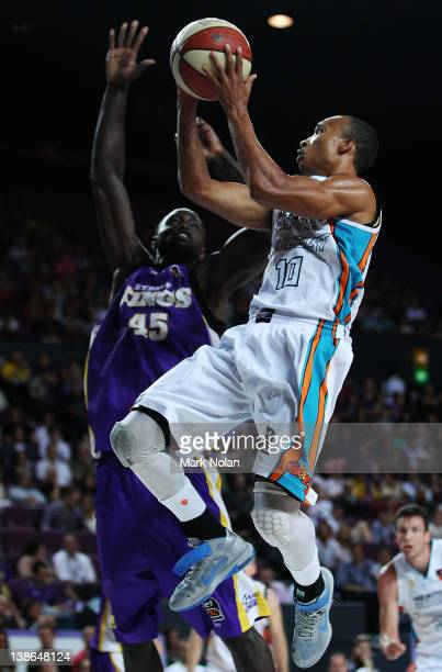 Adris Deleon of the Blaze drives to the basket as Jerai Grant of the Kings defends during the round 19 NBL match between the Sydney Kings and the...