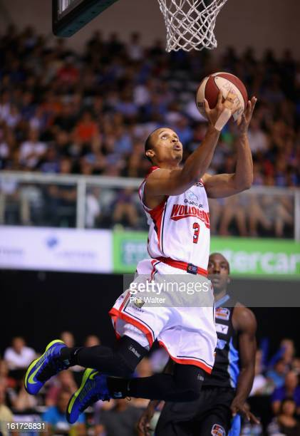 Adris Deleon of the Hawks dunks the ball during the round 18 NBL match between the New Zealand Breakers and the Wollongong Hawks at the North Shore...