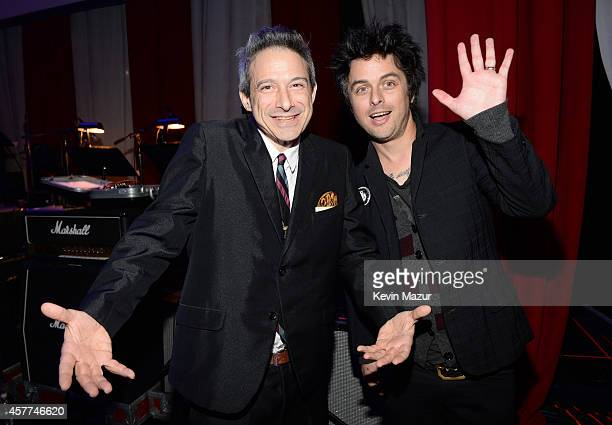 AdRock and Billie Joe Armstrong backstage during The 6th Annual Little Kids Rock Benefit at Hammerstein Ballroom on October 23 2014 in New York City