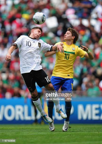 Adryan of Brazil celebrates his second goal during the FIFA U17 World Cup Mexico 2011 3rd Place Playoff match between Brazil and Germany at the...