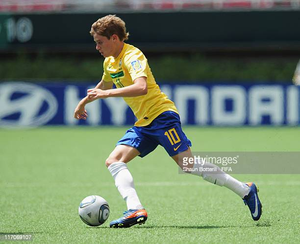 Adryan of Brazil in action during the FIFA U-17 World Cup Group F match between Brazil and Denmark at Estadio Guadalajara on June 20, 2011 in...