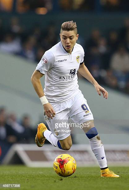 Adryan of Leeds controls the ball during the Sky Bet Championship match between Leeds United and Derby County at Elland Road on November 29, 2014 in...