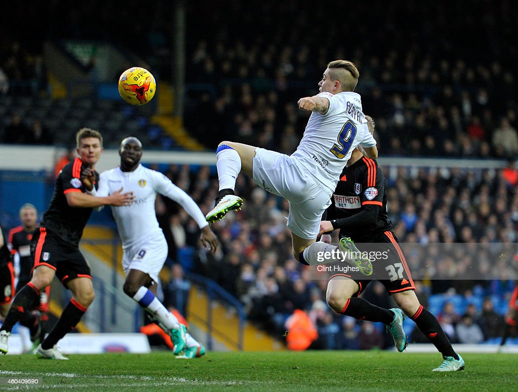 Adryan of Leeds United attempts a shot on goal during the Sky Bet Championship match between Leeds United and Fulham at Elland Road on December 13, 2014 in Leeds, England.