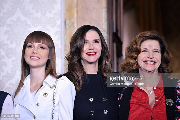 Adua Del Vesco Alessandra Martines and Anna Galiena attend a photocall for 'Il Bello Delle Donne' tv series on January 10 2017 in Milan Italy