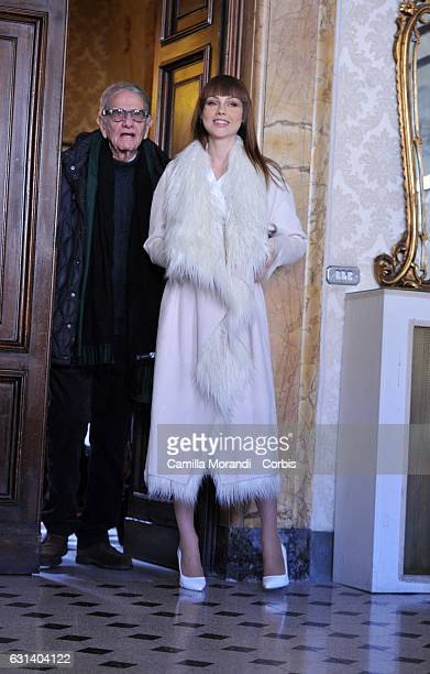 Adua Del Vesco and Enrico Lucherini attend a photocall for 'Il Bello Delle Donne' tv series on January 10 2017 in Milan Italy