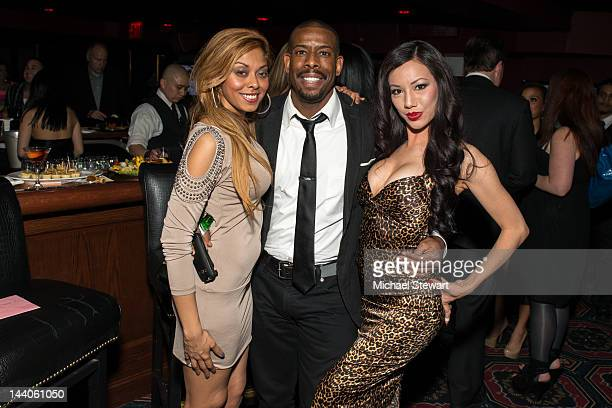 Adult actress Anju McIntyre, comedian Chuck Nice and adult actress Jade Vixen attend Alexis Ford's birthday celebration at Rick's Cabaret on May 8,...