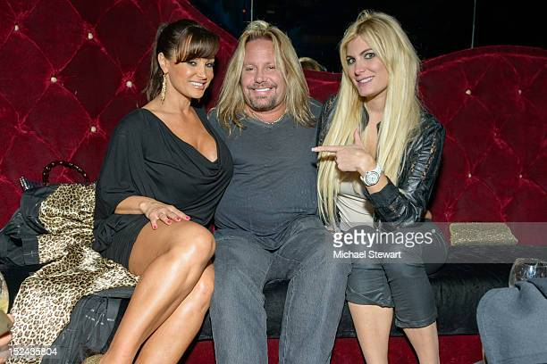 Adult actress Lisa Ann, musician Vince Neil and makeup artist Rain Andreani visit Headquarters on September 20, 2012 in New York City.