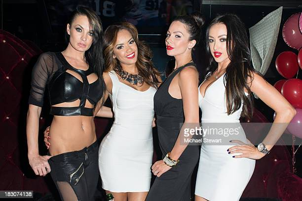 Adult actresses Alektra Blue Daisy Marie Kirsten Price and Breanne Benson attend the 8th Anniversary celebration at Headquarters on October 3 2013 in...
