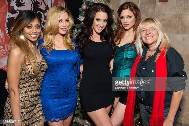 Adult actresses Anju McIntyre Kayden Kross Jayden James and Jayden Cole with TV personality Robin Byrd attend the XXXMas Spectacular event at...