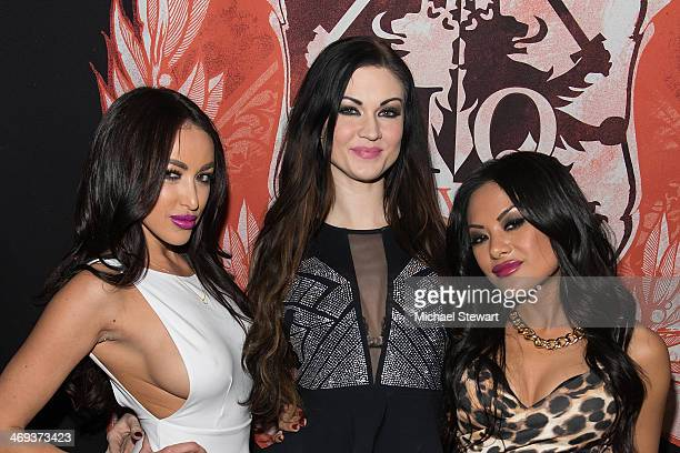 Adult Actresses Breanne Benson, Kendall Karson and Kaylani Lei attend Big John's Birthday Celebration at Headquarters on February 13, 2014 in New...