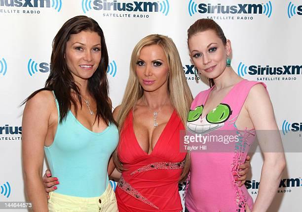 Adult actresses Heather Vandeven Nikki Benz and Justine Joli visit SiriusXM Studios on May 16 2012 in New York City