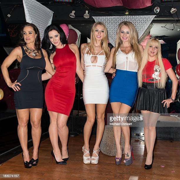 Adult actresses Lisa Ann Jayden Jaymes Natalia Starr Natasha Starr and Lexi Love attend the 8th Anniversary celebration at Headquarters on October 3...
