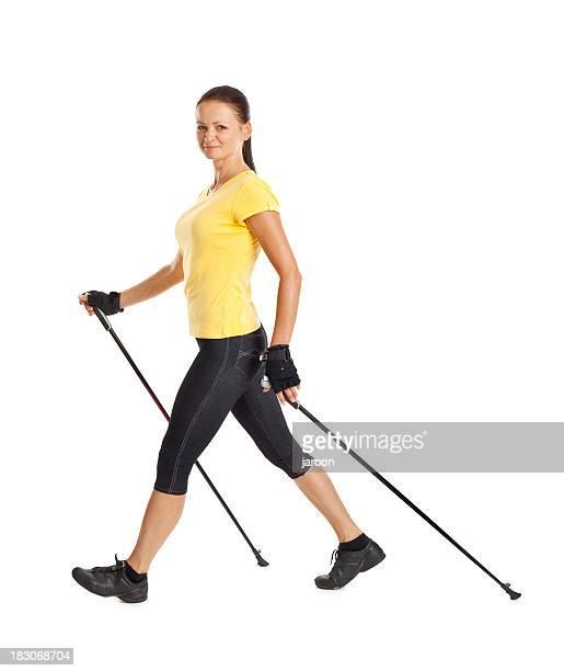 Erwachsenen attraktive Frau Übungen Sportwandern