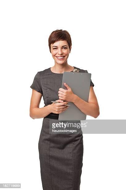 adulto mulher de negócios com prancheta isolada no branco - bem vestido - fotografias e filmes do acervo