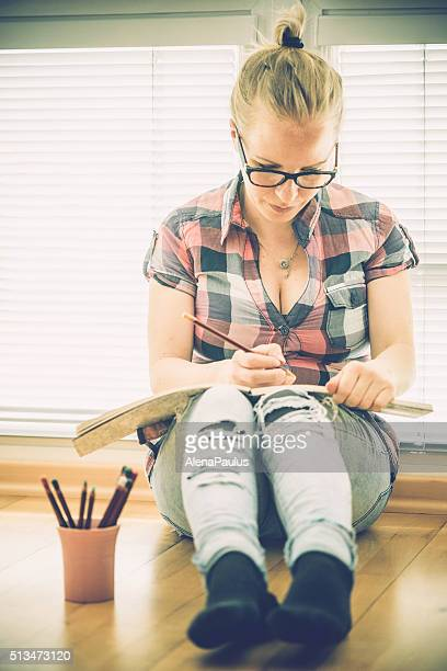 Adult Coloring Books - blonde woman relaxing at home