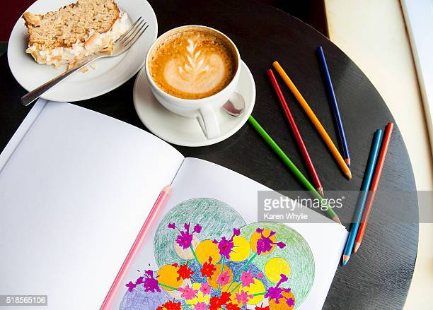adult coloring books - brief - colouring book stock photos and pictures