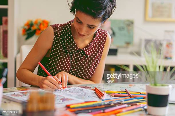 adult coloring books - colouring stock photos and pictures