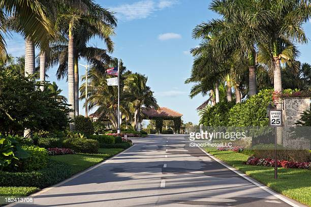 adult community entrance - florida landscaping stock pictures, royalty-free photos & images