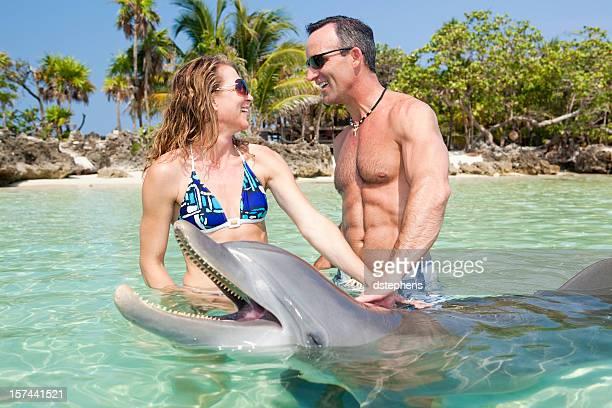 adulto pareja disfrutando de encuentro con delfines nariz de botella - dolphins fotografías e imágenes de stock