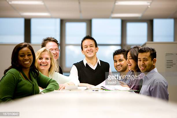 adult education: a friendly group of diverse mature students - 30 39 years stock photos and pictures