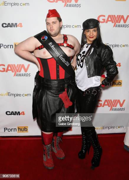 Adult film actor Adam Monda and dominatrix Lady Remedy Ann attend the 2018 GayVN Awards show at The Joint inside the Hard Rock Hotel Casino on...