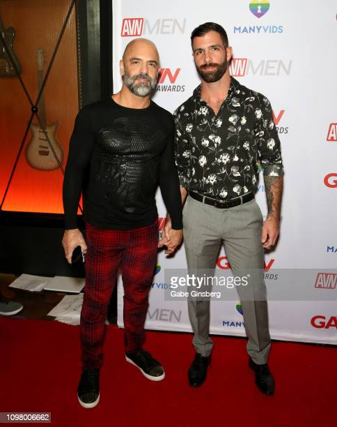 Adult film actor Adam Russo and Jack Nicola attend the 2019 GayVN Awards show at The Joint inside the Hard Rock Hotel Casino on January 21 2019 in...