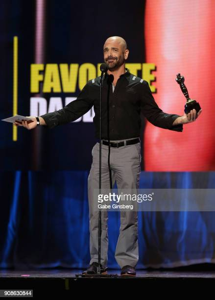 Adult film actor Adam Russo wins an award during the 2018 GayVN Awards show at The Joint inside the Hard Rock Hotel Casino on January 21 2018 in Las...