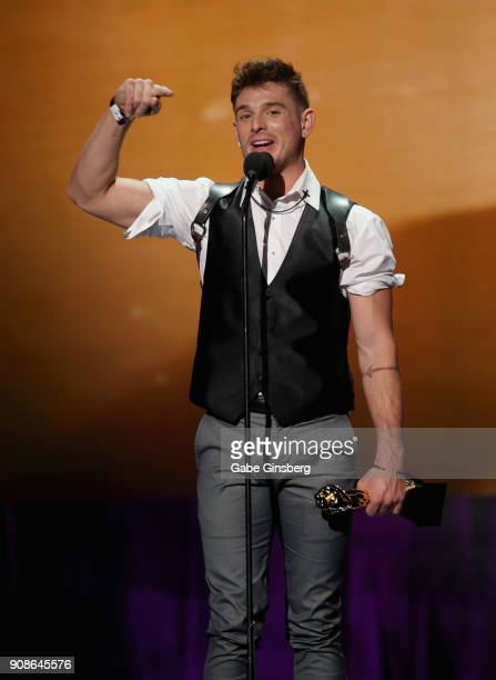 Adult film actor and director Brent Corrigan wins the Best Actor award during the 2018 GayVN Awards show at The Joint inside the Hard Rock Hotel...