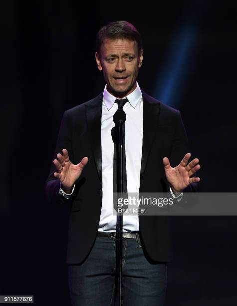 Adult film actor and filmmaker Rocco Siffredi presents an award during the 2018 Adult Video News Awards at The Joint inside the Hard Rock Hotel...