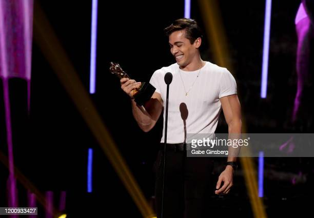 Adult film actor Ashton Summers accepts the Best Duo Sex Scene award during the 2020 GayVN Awards show at The Joint inside the Hard Rock Hotel Casino...