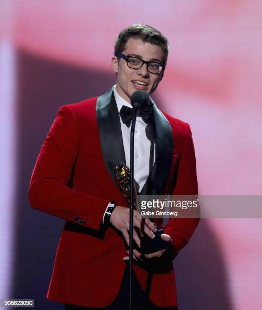 Adult film actor Blake Mitchell wins an award during the 2018 GayVN Awards show at The Joint inside the Hard Rock Hotel Casino on January 21 2018 in...