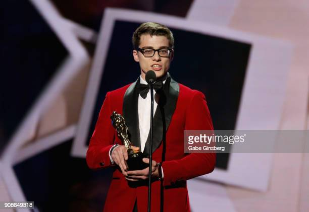 Adult film actor Blake Mitchell wins the Favorite Cam Guy award during the 2018 GayVN Awards show at The Joint inside the Hard Rock Hotel Casino on...