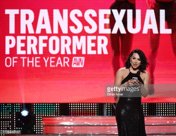 Adult film actor Chanel Santini accepts the award for Transsexual Performer of the Year during the 2019 Adult Video News Awards at The Joint inside...