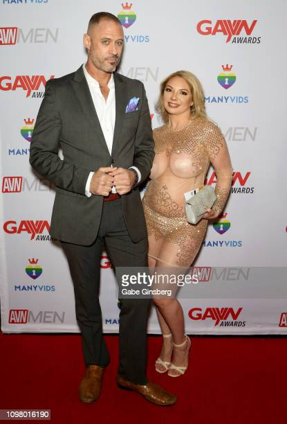 Adult film actor D Arclyte and adult film actress Kiki Daire attend the 2019 GayVN Awards show at The Joint inside the Hard Rock Hotel Casino on...