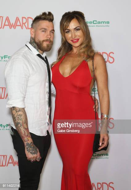 Adult film actor Dean Van Damme and adult film actress Aubrey Black attends the 2018 Adult Video News Awards at the Hard Rock Hotel Casino on January...