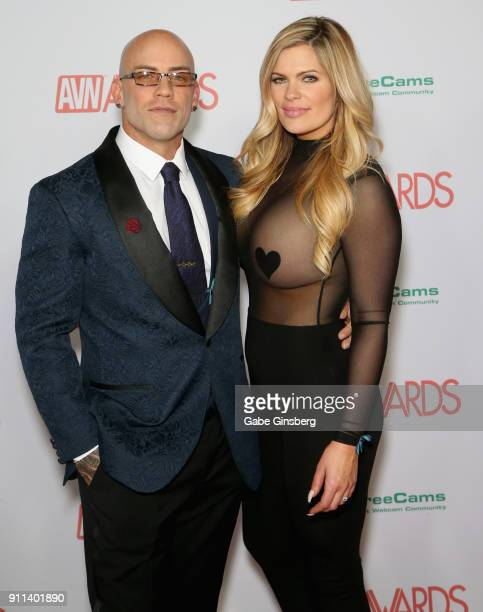 Adult film actor Derrick Pierce and Courtney Lizar attend the 2018 Adult Video News Awards at the Hard Rock Hotel Casino on January 27 2018 in Las...