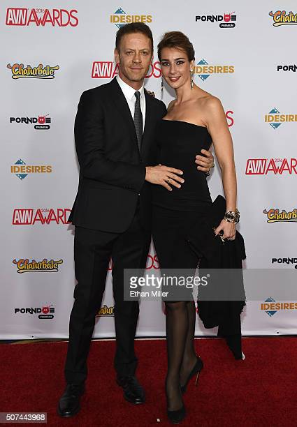 Adult film actor director and producer Rocco Siffredi and his wife adult film actress Rosa Caracciolo attend the 2016 Adult Video News Awards at the...