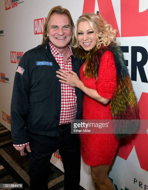 Adult film actor Evan Stone and adult film actress Katie Morgan pose at the 2020 AVN Adult Entertainment Expo at the Hard Rock Hotel Casino on...