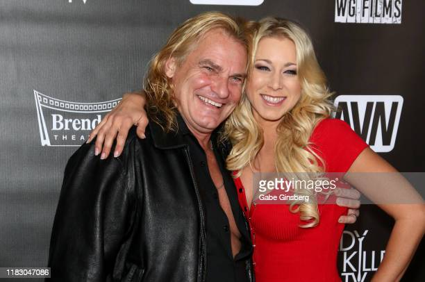 Adult film actor Evan Stone and adult film actress Katie Morgan attend the world premiere of the film LadyKillerTV at the Brenden Theatres inside...