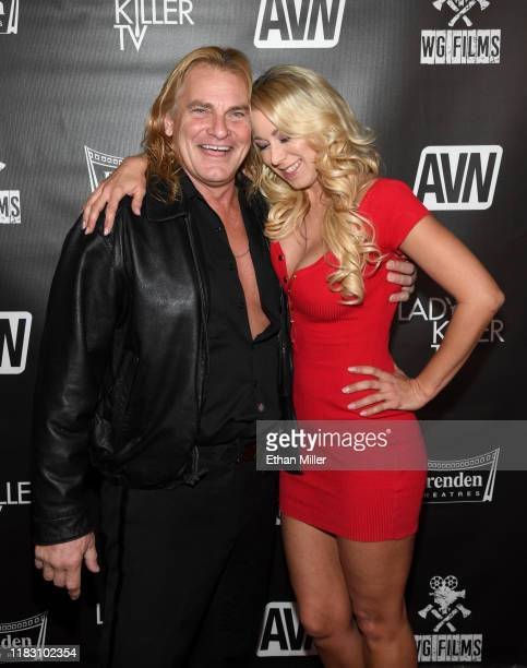 "Adult film actor Evan Stone and adult film actress Katie Morgan attend the world premiere of the film ""LadyKillerTV"" at the Brenden Theatres inside..."