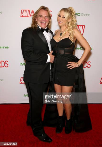 Adult film actor Evan Stone and adult film actress Katie Morgan attend the 2020 Adult Video News Awards at The Joint inside the Hard Rock Hotel &...