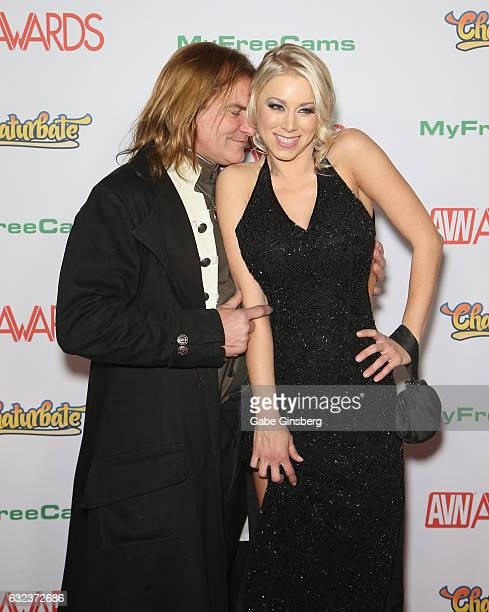 Adult film actor Evan Stone and adult film actress Katie Morgan attend the 2017 Adult Video News Awards at the Hard Rock Hotel Casino on January 21...