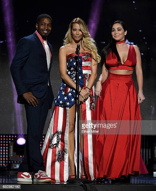 Adult film actor Isiah Maxwell, adult film actress/director jessica drake and adult film actress Karlee Grey present an award during the 2017 Adult...