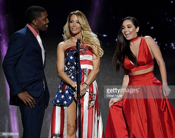 Adult film actor Isiah Maxwell adult film actress/director jessica drake and adult film actress Karlee Grey present an award during the 2017 Adult...
