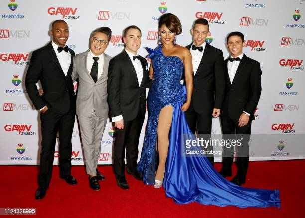 Adult film actor Jacen Zhu actor and host Alec Mapa AVN Media Network CEO Tony Rios television personality and host Shangela Laquifa Wadley adult...