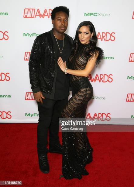 Adult film actor Jack Blaque and adult film actress Tia Cyrus attend the 2019 Adult Video News Awards at The Joint inside the Hard Rock Hotel Casino...